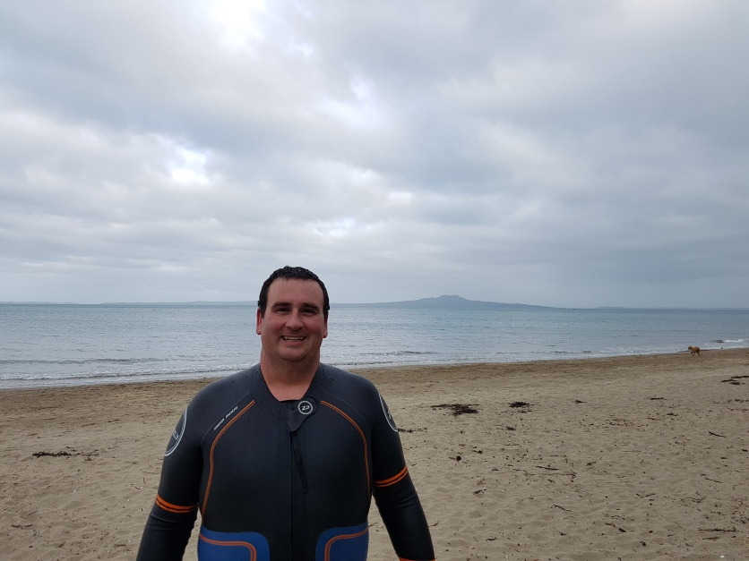 First wetting of the wetsuit. Wasn't as cold as it looks